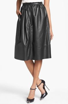 $317, Black Leather Full Skirt: Gelsey Prud Leather Skirt Black 2 by Theory. Sold by Nordstrom. Click for more info: http://lookastic.com/women/shop_items/38004/redirect