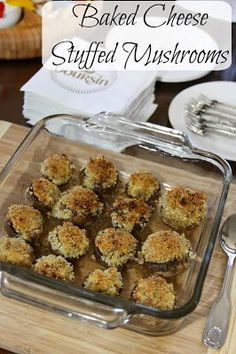 Baked Cheese Stuffed Mushrooms -this popular appetizer is filled with a mixture of garlic, Boursin cheese, and Parmesan and baked until golden.