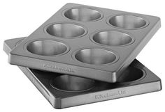 KitchenAid - 6-Cavity Nonstick Muffin Pans (2-Pack) - Silver