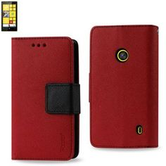 Reiko Wallet Case 3 In 1 For Nokia Lumia 520 Red With Interior Leather-Like Material And Polymer Cover
