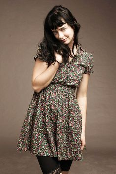 dress, floral, and krysten ritter image