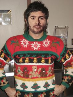 Jimmie Johnson in Teddy bears and Scottish curls... ...NASCAR Drivers in their Ugly Christmas Sweaters