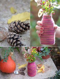 Alessas Blog: [diy] Vase für den Herbst selber machen: Wollvase