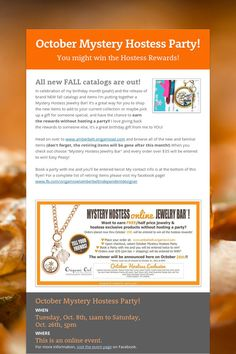 October Mystery Hostess Jewelry Bar! Earn the awesome Origami Owl Hostess Rewards without even hosting a party! Create your customized Living Locket, shop our retiring product and all of our new fall items!
