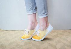 Zapatillas de tela teñidas en degradé....