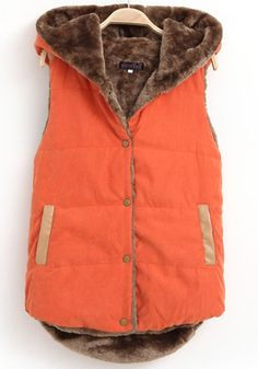 Orange Plain Hooded Pockets Vest Coat