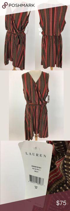 """Lauren Ralph Lauren dress Waist: 42"""" Bust: 46.5"""" Bust to hem: 39"""" at shortest, 44 at longest 93% polyester, 7% elastane  Item #196 Lauren Ralph Lauren Dresses Asymmetrical"""