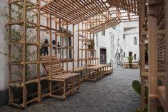 Orizzontale reclaimed the core of the O Quarteirão neighborhood on São Miguel Island with the permanent installation of the Casa do Quarteirão street art intervention. Landscape Architecture, Interior Architecture, Urban Ideas, Urban Intervention, Azores, Urban Furniture, Urban Farming, Urban Design, Installation Art
