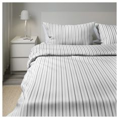 IKEA - HÖSTÖGA Duvet cover and pillowcase(s) striped, gray