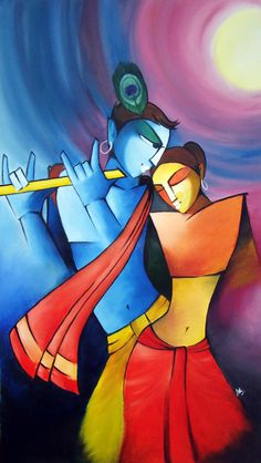 Radha Krishna - Hindu deities by eskay-rautYou can find Hindu art and more on our website.Radha Krishna - Hindu deities by eskay-raut Krishna Hindu, Hindu Deities, Lord Krishna, Zantangle Art, Indian Art Paintings, Oil Paintings, Abstract Paintings, Ganesha Painting, Madhubani Art