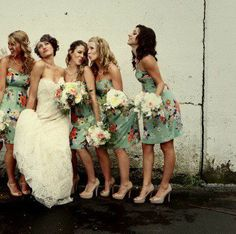 Bridesmaid dresses with a print on them instead of just a plane colored dress!
