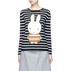 Chinti and Parker x Miffy 'Miffy Stripe' cashmere sweater (4 850 SEK) ❤ liked on Polyvore featuring tops, sweaters, striped cashmere sweater, cashmere tops, over sized sweaters, chinti and parker sweater and cashmere sweater