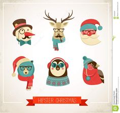 Christmas Background With Hipster Animals - Download From Over 27 Million High Quality Stock Photos, Images, Vectors. Image: 33525597
