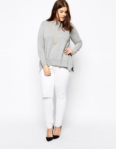 ASOS CURVE | Ridley Skinny Jean In White With Ripped Knee