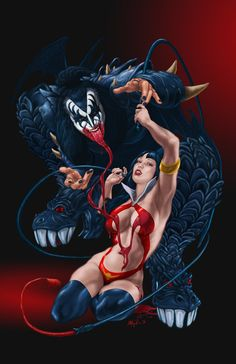 Vampirella and Gene Simmons by Alex Aguilar Heavy Metal Art, Heavy Metal Bands, Dark Fantasy Art, Fantasy Girl, Kiss Art, Kiss Pictures, Hot Band, Rock Posters, Image Hd