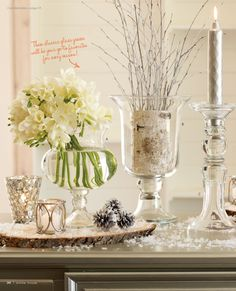 I like the log in the vase...a set of 3 for the communion table?  A bigger one for the middle and two a little smaller on either side?