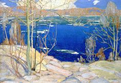 """Group of Seven painter, Tom Thomson - """"Spring Ice."""" Isn't that lovely? Group Of Seven Art, Group Of Seven Paintings, Emily Carr, Canadian Painters, Canadian Artists, Landscape Art, Landscape Paintings, Oil Paintings, Tom Thomson Paintings"""