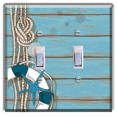 Light Switch Plate Cover Beach Home Decor Rope Starfish Blue Nautical Decor | Switch plate covers Light switch plates and Light switches  sc 1 st  Pinterest & Light Switch Plate Cover Beach Home Decor Rope Starfish Blue ...