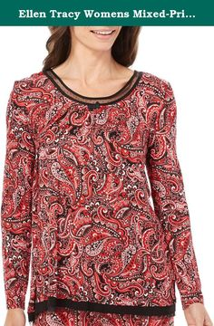 Ellen Tracy Womens Mixed-Print Pajama Sleep Shirt Mult Paisley L. Ellen Tracy Large Red Mixed-Print Pajama Sleep Shirt Mult Paisley for Women.