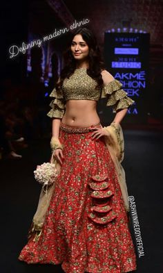 The combination of red green golden and black. looks amazing Indian Dresses, Indian Outfits, Eid Outfits, Eid Dresses, Indian Designer Outfits, Designer Dresses, Indian Bridal Lehenga, Indian Sarees, Lehnga Dress
