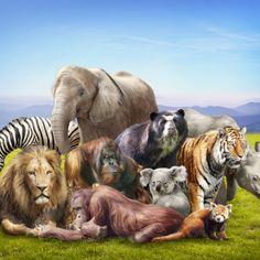 Fotomural impreso en vinilo con animales salvajes. Masquevinilo.com