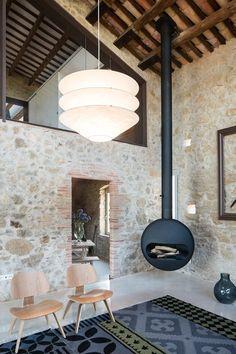 Modern Farmhouse Renovation by Gloria Duran Torellas - Antique Farmhouse in Spain Gets a Modern Renovation - Dwell Stone Interior, Interior And Exterior, Interior Design, Custom Wood Doors, Old Stone Houses, Farmhouse Renovation, Prefab Homes, Fireplace Design, Sweet Home