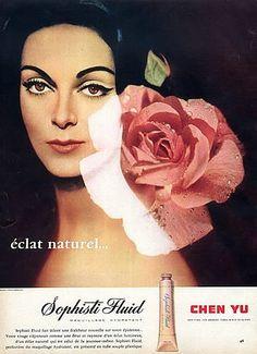 Carmen Dell'Orefice for Chen Yu, Jardin des Modes March 1958 1950s Makeup, Vintage Makeup Ads, Vintage Beauty, Vintage Ads, Carmen Dell'orefice, Beauty Ad, Beauty Makeup, Beauty Products, Retro Ads
