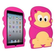 Hot Pink Cute 3D Lovely Cartoon Monkey Silicone Soft iPad Mini Back Cover Skin Case