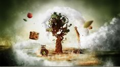 nice fantasy art creative animals and tree wallpaper Check more at http://www.finewallpapers.eu/pin/4169/