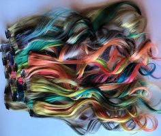 18 inch Pastel Neon Rainbow Mermaid Clip in Extension 100% Remy Human Hair Extensions Pink Purple Silver Green Yellow Blue Orange Blonde