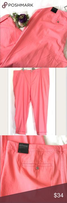 """Lane Bryant low rise boyfriend chino pants 28 Lane Bryant low rise boyfriend chino pants, salmon color, very comfortable stretch cotton/lyocell/spandex, trendy grommet-type buttons, plus sz 28 approximate measurements: waist = 49"""" rise = 13.5"""" inseam = 29"""" cuffed or 32"""" uncuffed, NWT Lane Bryant casual pants Lane Bryant Pants"""