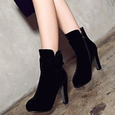 Shoespie Side Button Platform Ankle Boots
