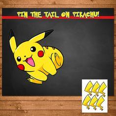 Pokemon Pin The Tail on Pikachu Activity Chalkboard - Pokemon Party Favors - Pokemon Party Supplies - Pokemon Printables - 100327 Pikachu Pikachu, Pikachu Game, Halloween Party Games, Birthday Party Games, 6th Birthday Parties, Birthday Ideas, Scary Halloween, Soccer Birthday, Birthday Diy