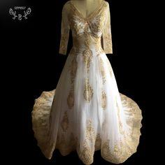 >> Click to Buy << Vestido De Noiva Casamento Sexy golden appliques V neck muslim Wedding Dress 2017 turkey sheer half sleeves Vestidos de novia #Affiliate