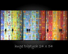Huge XLarge Bird Painting Abstract Cityscape Contemporary Modern Triptych Silhouette 24x54 by JMichael     I love this!