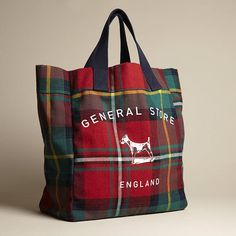 Plum and Ashby red tartan tote bag with navy canvas handles. Tartan Decor, Tartan Plaid, Plum And Ashby, Style Anglais, Tartan Fashion, Scottish Tartans, Harris Tweed, Buffalo Plaid, Purses And Bags
