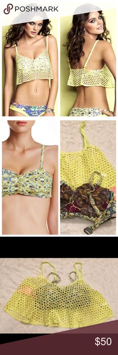 Maaji mambo bamboo bandeau mesh overlay bikini top Eye-catching 2 piece bikini top (only bikini top, no bottom) has a balconet bikini with a unique floral print design.  - Double layer construction - Ruffle mesh overlay with adjustable straps - Removable, adjustable straps - Back hook closure - Padded cups Fiber Content 78% nylon, 22% spandex Maaji Swim Bikinis
