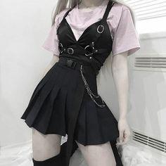 Egirl Fashion, Dark Fashion, Cute Fashion, Korean Fashion, Fashion Outfits, Bad Girl Outfits, Edgy Outfits, Grunge Outfits, Cool Outfits