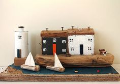 Home Decor - Driftwood Art: Hebour and Lighthouse