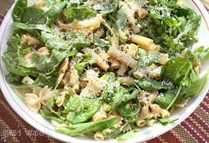 Summer Pasta Salad with Baby Greens - Serve this for lunch, or as a side dish at your next backyard get together.