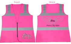 PROTECT THIS RIDER Ladies Hi-Viz Pink Reflective Safety Vest by Steel Cowgirl
