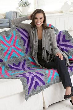 Twelve Star Throw - Free Crochet Afghan Pattern (would be a great gift for a teen! Motifs Afghans, Crochet Motifs, Knitted Afghans, Crochet Quilt, Afghan Crochet Patterns, Crochet Squares, Crochet Crafts, Crochet Yarn, Crochet Projects