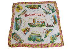 Washington DC Souvenir Silk Scarf on OneKingsLane.comALL-AMERICANA Washington DC Souvenir Silk Scarf  $69.00 $149.00 Estimated Market Value  Era: Vintage; 1960s Condition: Excellent