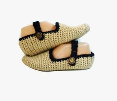 https://www.etsy.com/listing/490104251/crochet-slippers-black-and-tan-handmade?ref=shop_home_active_5 Slippers Make Great Gifts For Yourself or Someone You Love! More Colors Available In My Etsy Shop!  #Slippers #Socks #Crochet #Knit #MaryJanes #Shoes #Beige #TanAndBlack #Gift #Women #Fashion #Trend