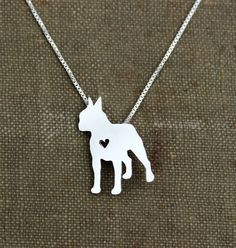 Boston Terrier necklace tiny sterling silver by JustPlainSimple