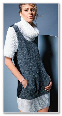 Вязание спицами. Прямое платье-гольф с короткими рукавами. Размеры: 34/36, 38/40, 42/44