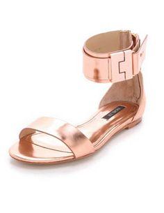 830c30963e923f Rachel Zoe Gladys Metallic Leather Sandals