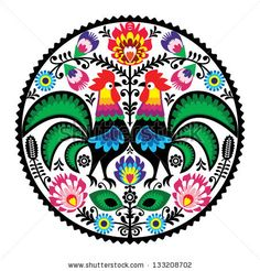 Polish floral embroidery with roosters - traditional folk pattern by RedKoala