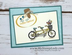Sale-A-Bration Pedal Pushers stamp set happy together card with the Kraft & White Corrugated Paper. Project Life Paper Clip Thinlit Dies. www.mystamplady.com