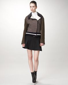Tweed Varsity Jacket, Equestrienne Blouse & Pleated Wool Skirt by Stella McCartney at Neiman Marcus.